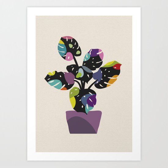Happy Bright Leaves - Monstera (II) Art Print