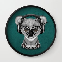 Cute Baby Koala Bear Dj Wearing Headphones on Blue Wall Clock