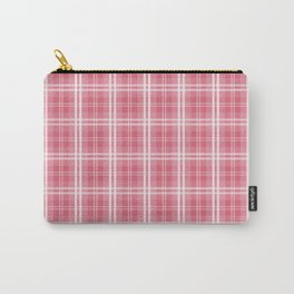 Faded and Shaded Nanucket Red and White Tartan Plaid Check Carry-All Pouch