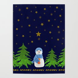 Sparkly gold stars, snowman and green tree Poster