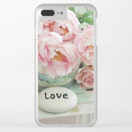 Pink Peonies Shabby Chic Cottage Peony Love Floral Prints Home Decor Clear iPhone Case