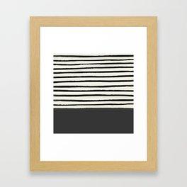 Charcoal Gray x Stripes Framed Art Print