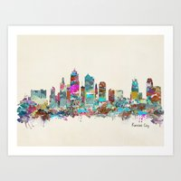 kansas city Art Prints featuring kansas city Missouri skyline by bri.buckley