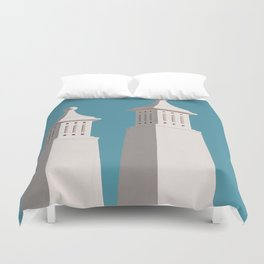 Minimalist Photography Portugal Minerit White Towers Blue Background Scadenvien Style Duvet Cover