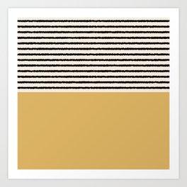 Texture - Black Stripes Gold Art Print