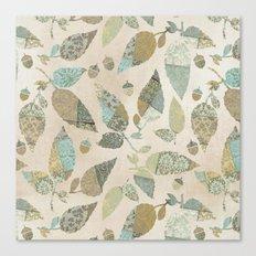 Nostalgic Patchwork Autumn Leaf Pattern Teal Beige Canvas Print