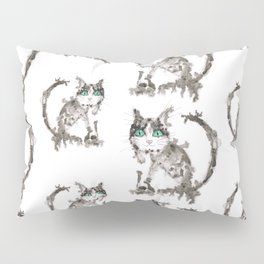 Black wet ink cat Pillow Sham