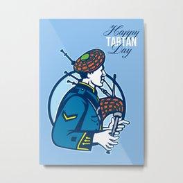 Happy Tartan Day Bagpiper Greeting Card Metal Print