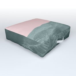 Mountains Pink + Green - Nature Photography Outdoor Floor Cushion