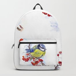 Watercolor Titmouse Great tit winter bird Backpack