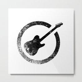 Electric Guitar Ink Stamp Metal Print
