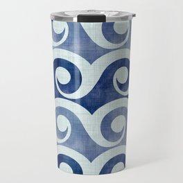 Retro Tropical Beach Waves - Indigo Blue Woodblock Travel Mug