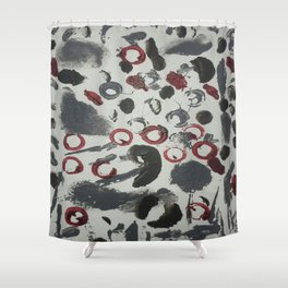 Moody Grey and Red Abstract Art Shower Curtain