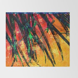 Palm Frond + Beyond [fire] Throw Blanket