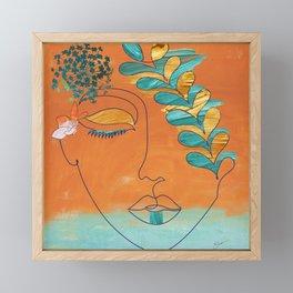Monoline Woman Gilded Flowers Framed Mini Art Print