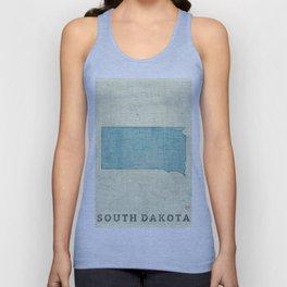 South Dakota State Map Blue Vintage Unisex Tank Top