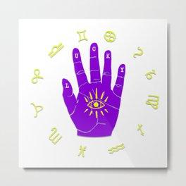 Zodiac Hand Eye Hamsa Metal Print