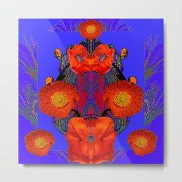 Ornate Modern Orange Poppy Flowers Ultramarine art Metal Print