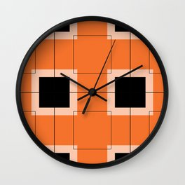 White Hairline Squares in Orange Wall Clock