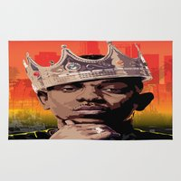 kendrick lamar Area & Throw Rugs featuring King Kendrick by Tecnificent