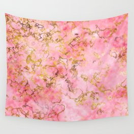 Raspberry Kiss - Pink Gold Marble Wall Tapestry