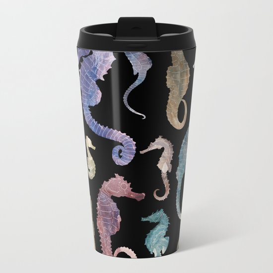 Seahorses at night Metal Travel Mug