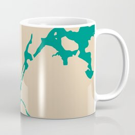 Manhattan NYC New York Minimalist Abstract in Mid Mod Beige and Teal Coffee Mug