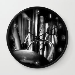 Cactus Garden Dark Wall Clock
