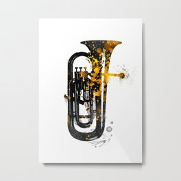 Euphonium music art gold and black #euphonium #music Metal Print