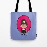 audrey hepburn Tote Bags featuring Audrey Hepburn by Juliana Motzko