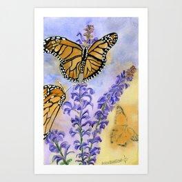 Flutter-By On Flower Fronds Art Print