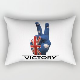 Hand making the V sign australia country flag painted Rectangular Pillow
