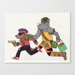 Bebop and Rocksteady Water Fight Canvas Print