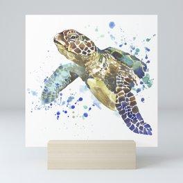Abstract Watercolor Sea Turtle on White 2 Minimalist Coastal Art - Coast - Sea - Beach - Shore Mini Art Print