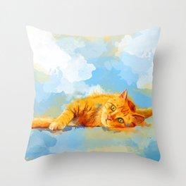 Cat Dream - orange tabby cat painting Throw Pillow
