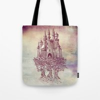 trees Tote Bags featuring Castle in the Trees by Rachel Caldwell