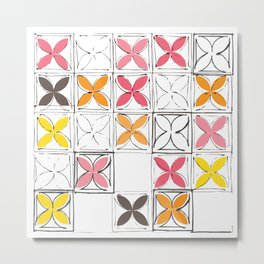 Mid-Century Cinder Blocks Pattern in Pink, Orange and Yellow Metal Print