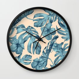 Island Vacay Hibiscus Palm Pale Coral Teal Blue Wall Clock