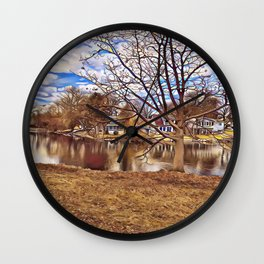 Little Neighborhood On the Lake Wall Clock