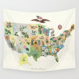 Vintage US State Flower Map (1911) Wall Tapestry