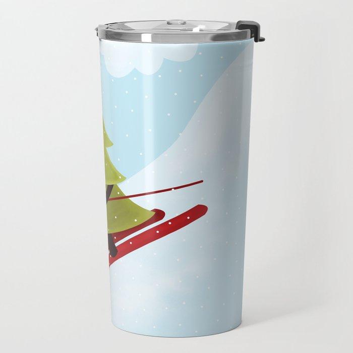 Happy Pine Tree on Ski Travel Mug