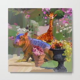 Animals in the Garden: The giraffe, hippo, and hedgehog Metal Print