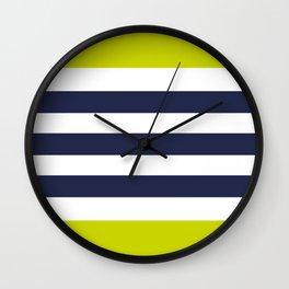 Modern Classy Navy Blue Lime Green STRIPES Wall Clock