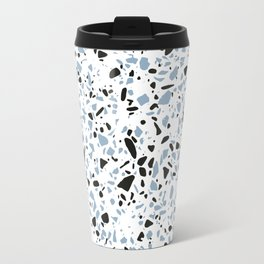 'Speckle Party' Blue Black and White Speckle Terrazzo Pattern Travel Mug