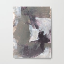 Textured Taupe and White Abstract Painting - Cascade Metal Print