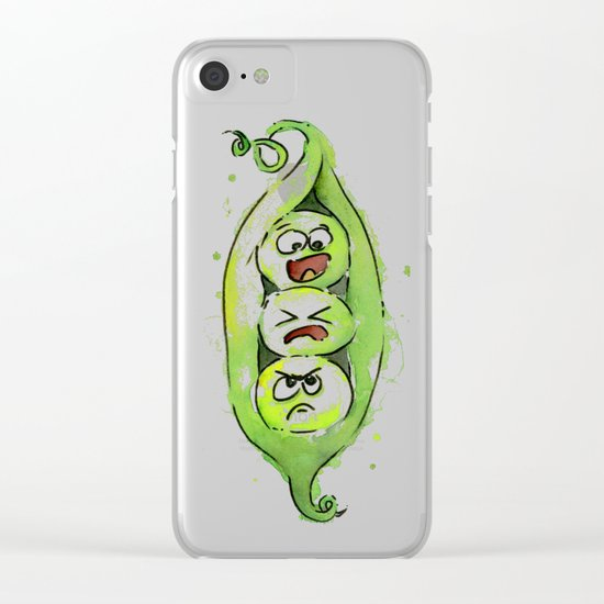 Peas in a Pod Funny Whimsical Siblings Watercolor Clear iPhone Case