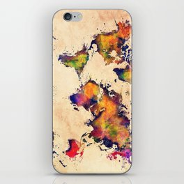 World map watercolor 3 iPhone Skin