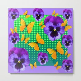 PURPLE PANSIES-BUTTERFLY GREEN OPTIC ART Metal Print