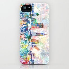 indianapolis city skyline watercolor 7 iPhone Case