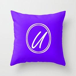 Monogram - Letter U on Indigo Violet Background Throw Pillow